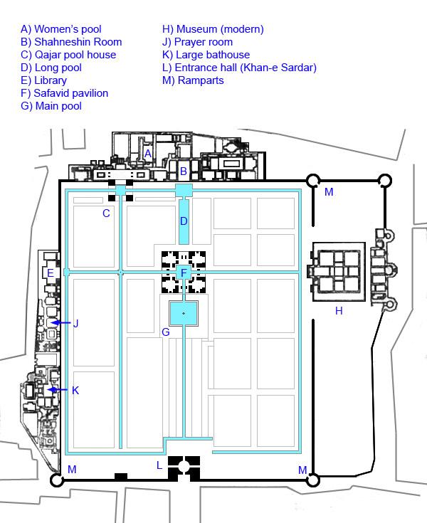 Plan view Fin Garden Kashan (UNESCO Site)